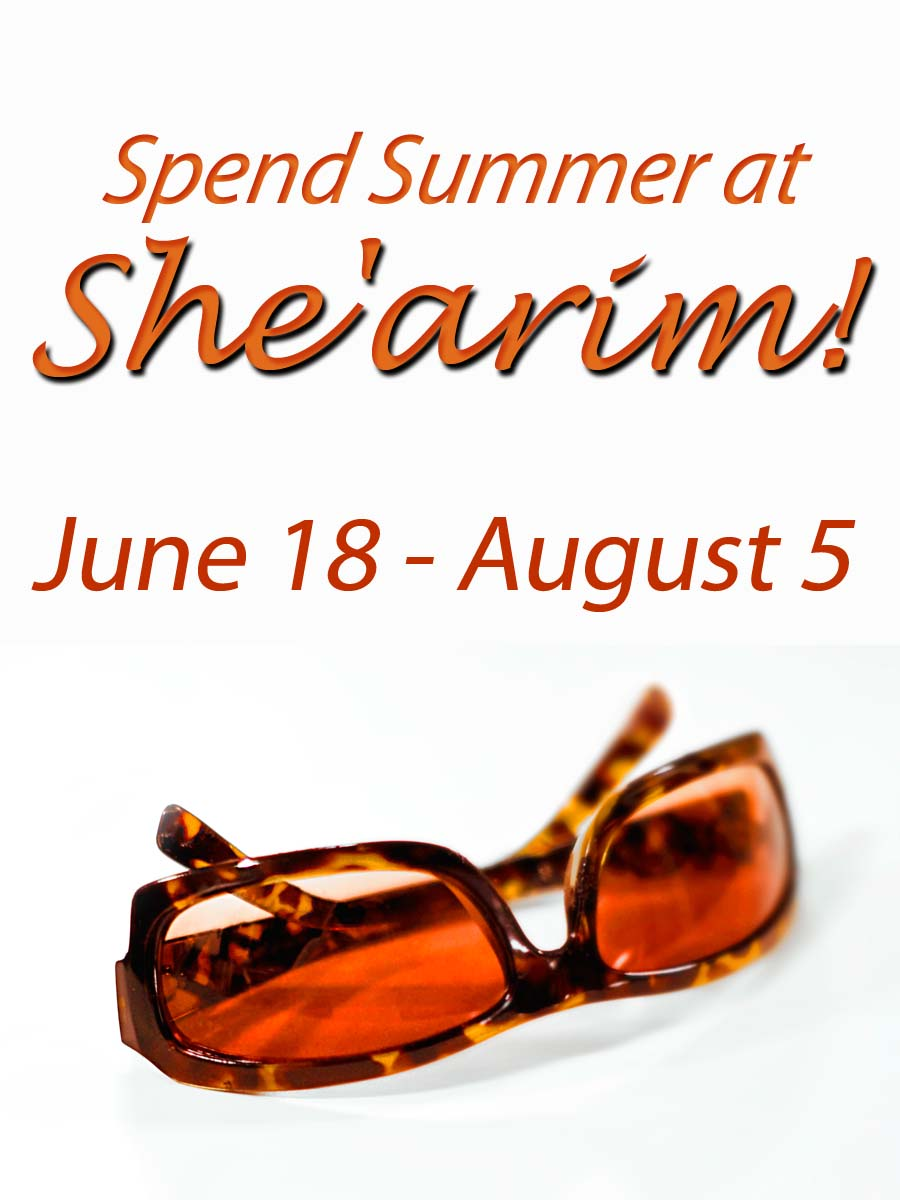 Spend the summer learning at She'arim! Click her for details!